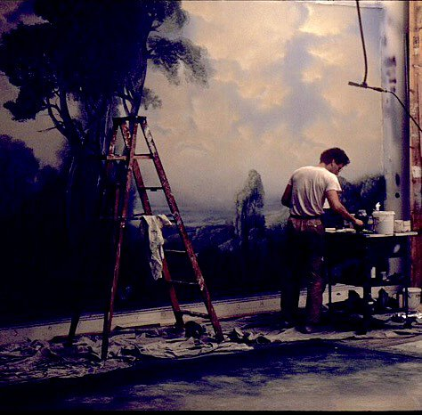 charles, painting in NYC workshop, 1982