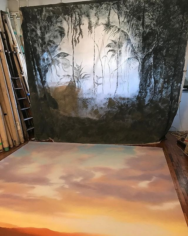 Overlapping #vista , #Sunrise + #Rainforest , in nyc workshop, checking painting conditions post physical usage , steaming out creases , #lovemylife #sometimes , #artistsoninstagram #charlesbroderson